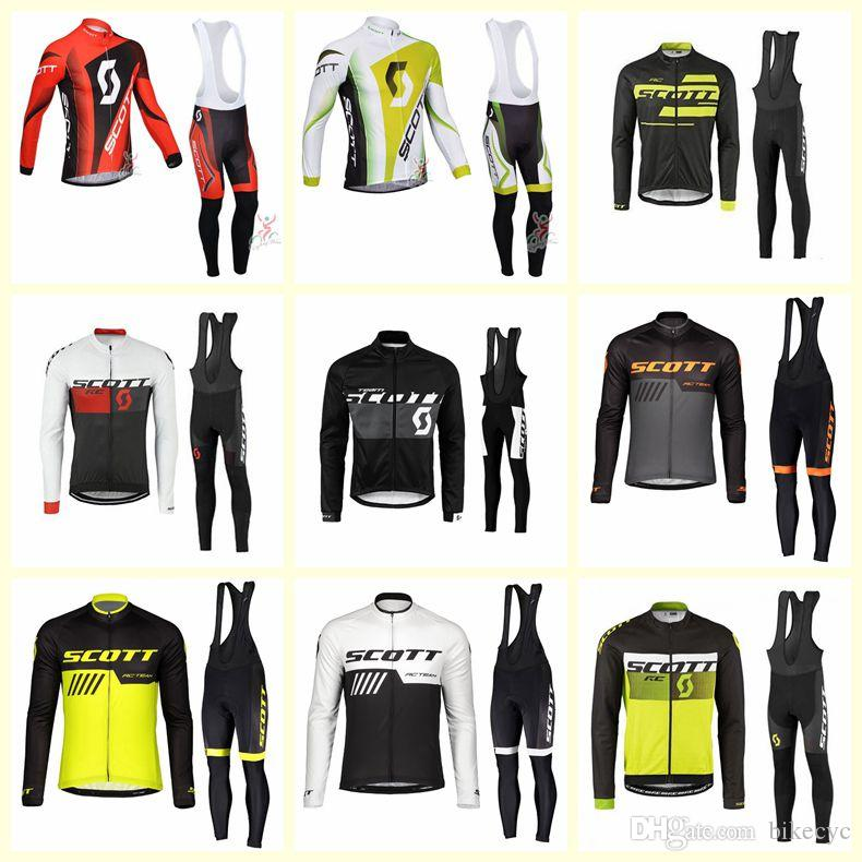 Autumn breathable Men Cycling Long Sleeve Jersey Bib Pants Set team Bike uniform
