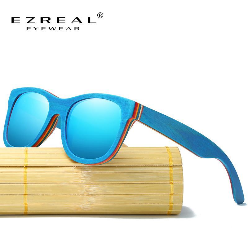 Ezreal Skate de madeira Frame Sunglasses azul com revestimento espelhado Bamboo óculos de sol UV 400 Lentes de proteção na caixa de madeira