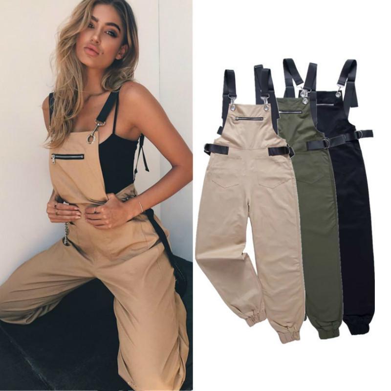 Nuovo Khaki pagliaccetti delle donne tuta elegante lungo Zipper Pockets maniche Adjusted cinghia a vita alta Cotone Moda Autunno 2019 CX200608