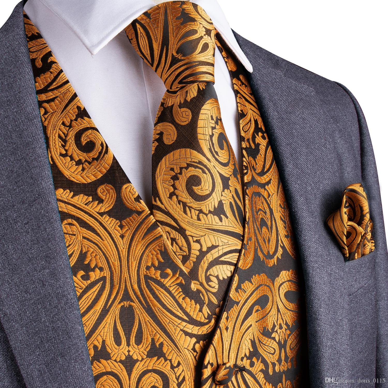 Fast Shipping Men's Luxury Gold Paisley Silk Jacquard Waistcoat Vest Handkerchief Cufflinks Party Wedding Tie Vest Suit Set MJ-0101