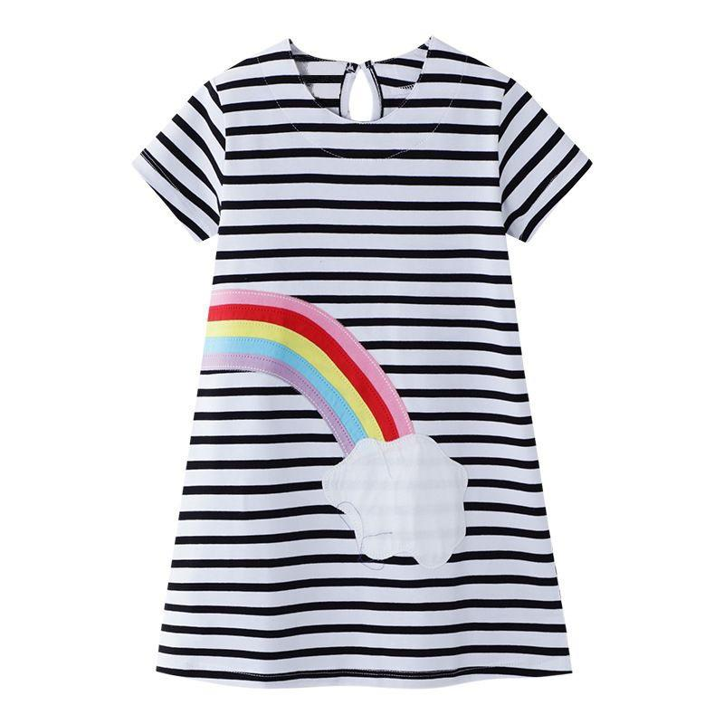 Summer Girls Striped Dress Rainbow Children Dress Casual Kids Dresses for Girls Fashion Girls Clothing