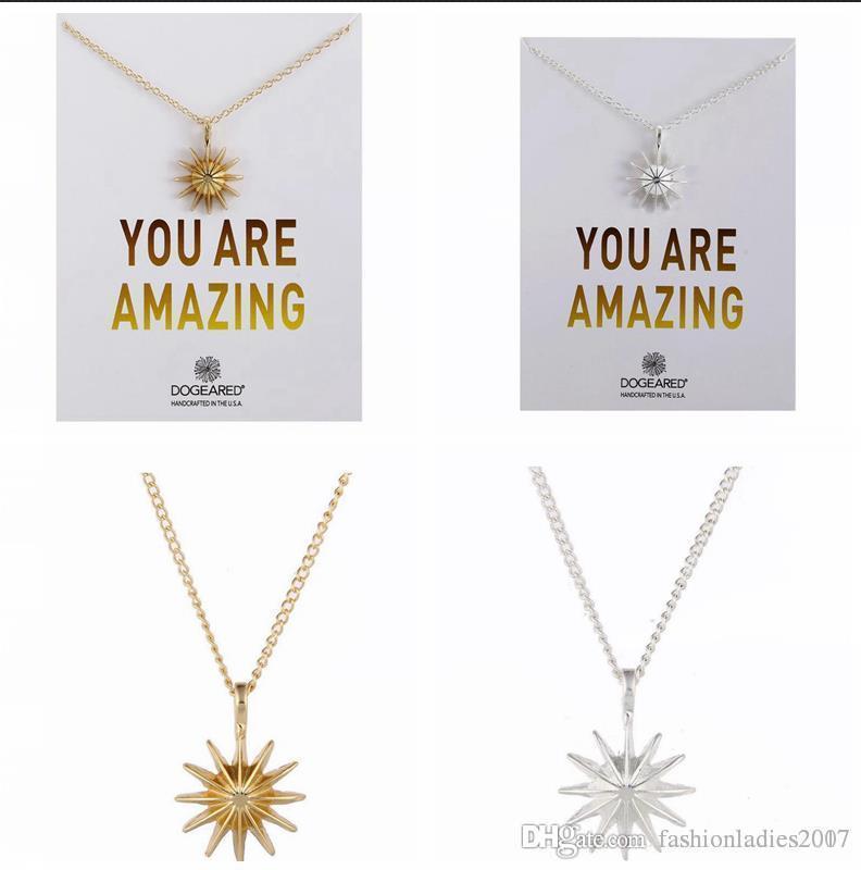 2017 New Dogeared Colar com cartão Você é incrível sol Gold star Pendant Noble e prata Delicate Choker Presente de Natal Dia dos Namorados