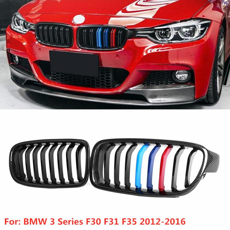 2x F30 Front Bumper Grill for BMW 3 Series F30 F31 F35 2012-2016 Kidney Grill Grille Glossy Black Carbon Fiber & ABS Car Styling