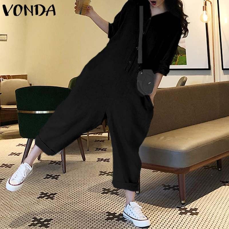 장난 꾸러기 여자 죄수 복 VONDA 긴 소매 옷깃 목 버튼 바지 플러스 사이즈 Playsuit 캐주얼 느슨한 넓은 다리 바지