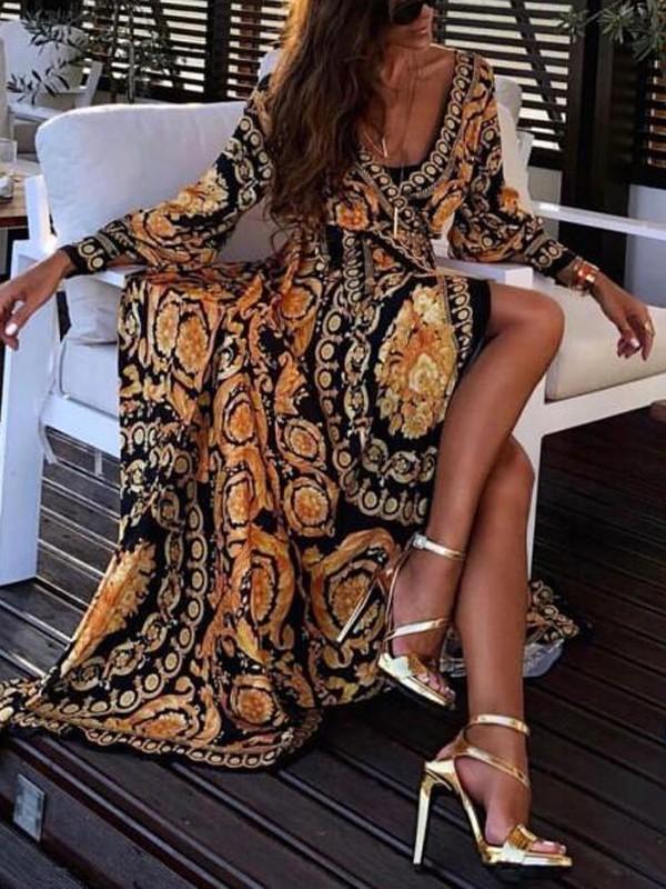 Damen Sommer Designer Kleider V-Ausschnitt Langarm Blumendruck Split Damen Bekleidung Mode Freizeitbekleidung