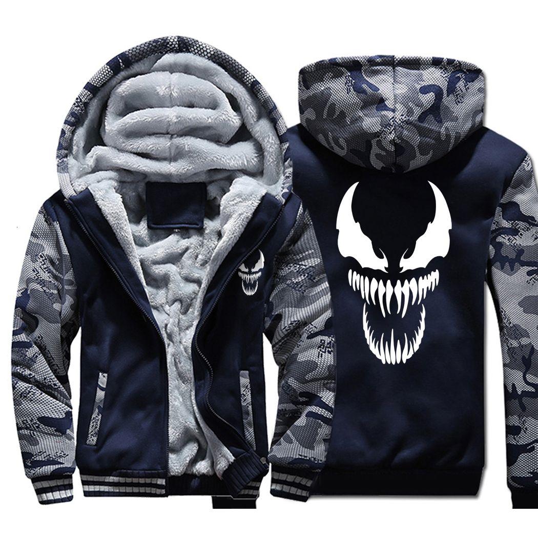Venom Hoodies Männer Movie Night Glow Hoodys Harajuku Mantel-Winter dicke Fleece-Jacke Coole Noctilucent Street LY191206