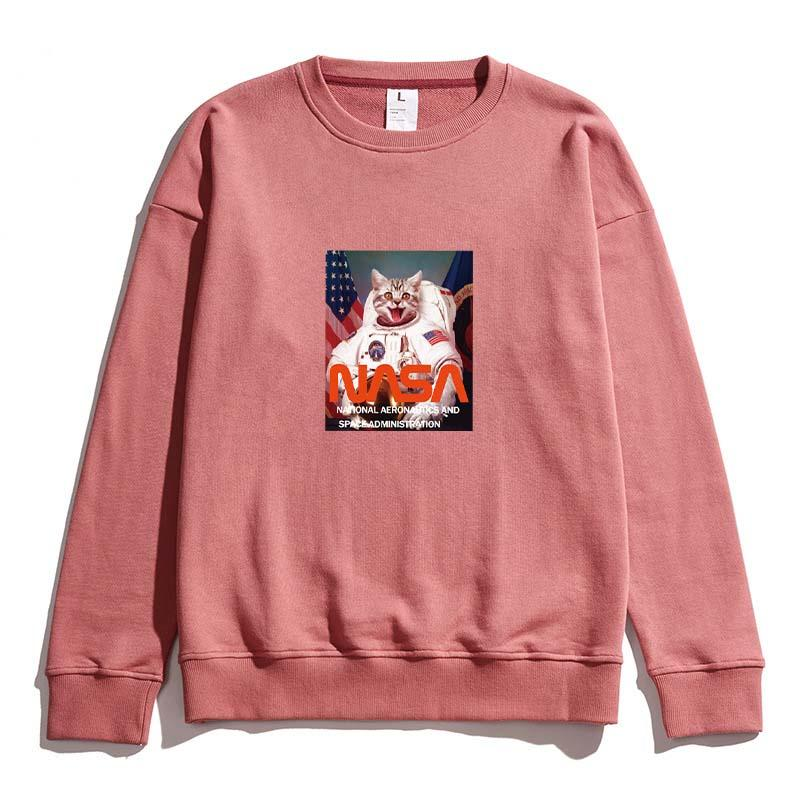 Hip Hop Sweatershirt Mens Womens Laughing Astronaut Cat Print Sweatershirts Casual Designer Brand Pullover Top Quality Street Style B101733V