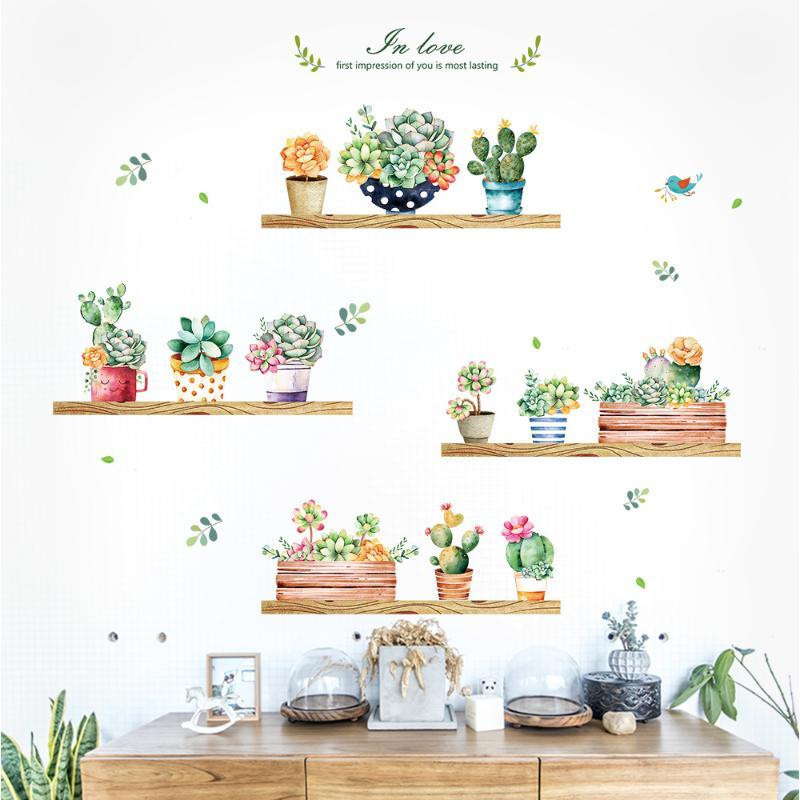 Garden plant bonsai home decor wall stickers for living room wall sticker flower kitchen PVC decals DIY decoration