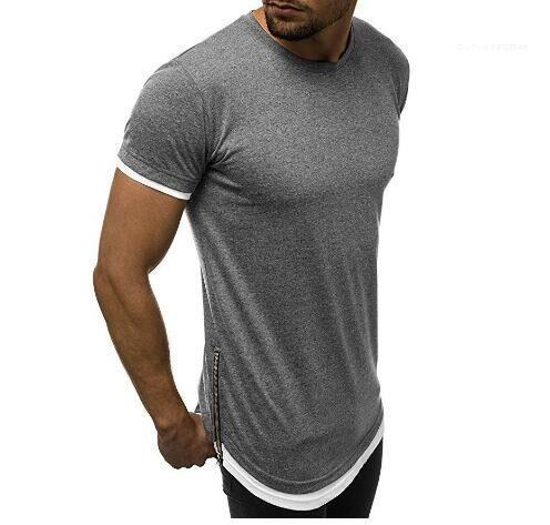 Zipper Solid Color-T-Shirt Sommer-Rundhalsausschnitt Pullover kurze Hülsen-beiläufige Art und Weise T-Stücke der Männer