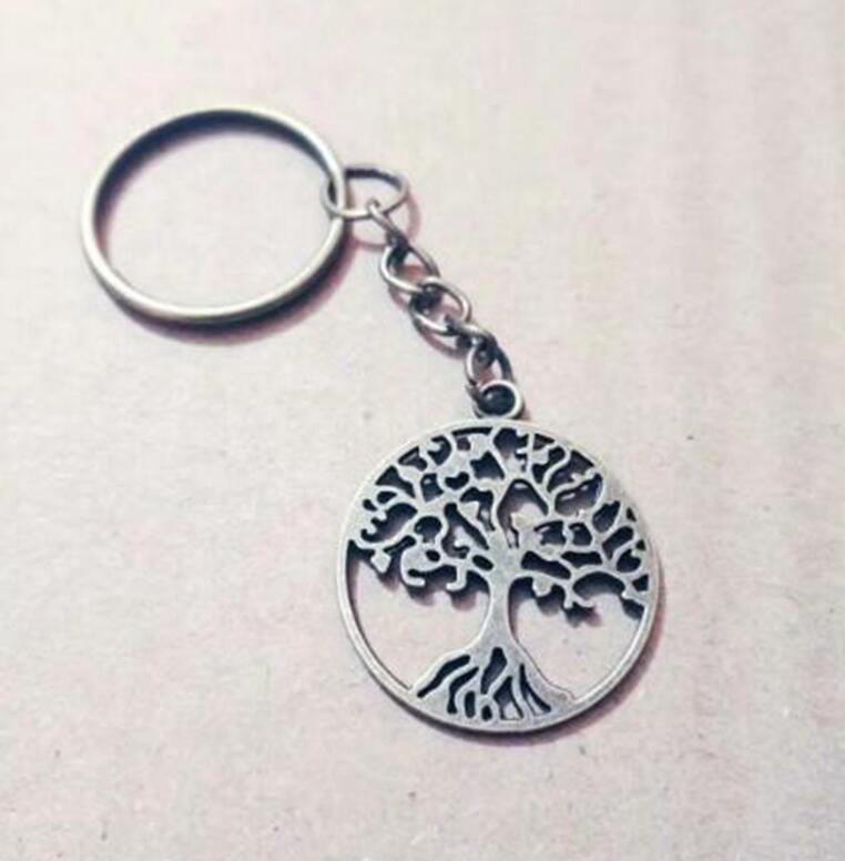 Zink-legierung Antike Bronze Baum des Lebens Charme Anhänger Schlüsselanhänger DIY Für Schlüssel Auto Tasche Anhänger Schlüsselanhänger Schlüsselanhänger Geschenk Zubehör