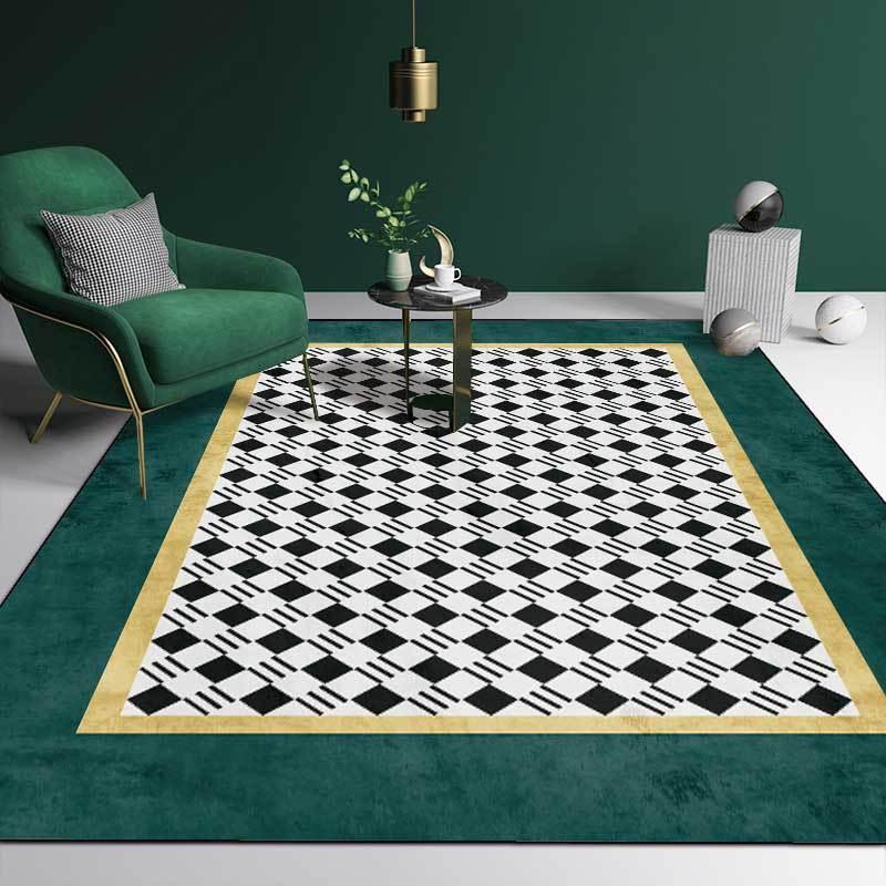 3D 형상 금 어두운 녹색 카펫을 검은 백색 부엌 거실 침실용실에는 소파식 카페트 바닥 매트 가정 장식적인 사용자 정의