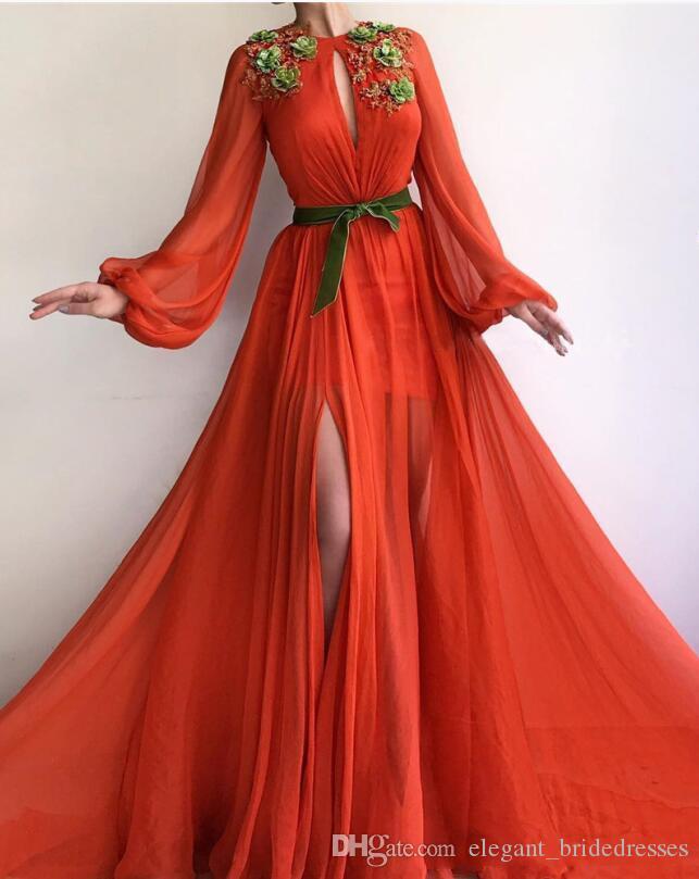 Nouvelle conception robes de bal 219 en mousseline de soie une ligne bijou cou manches longues appliques de dentelle longue robe de soirée étage longueur robes robe de soirée