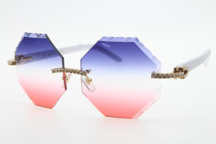 2020 Продажа новых солнцезащитных очков 4189706 Очки для качественного доски Белые очки Высокие Мужские Солнцезащитные очки Большие камни металлические C Украшения золота GLAS PUBD