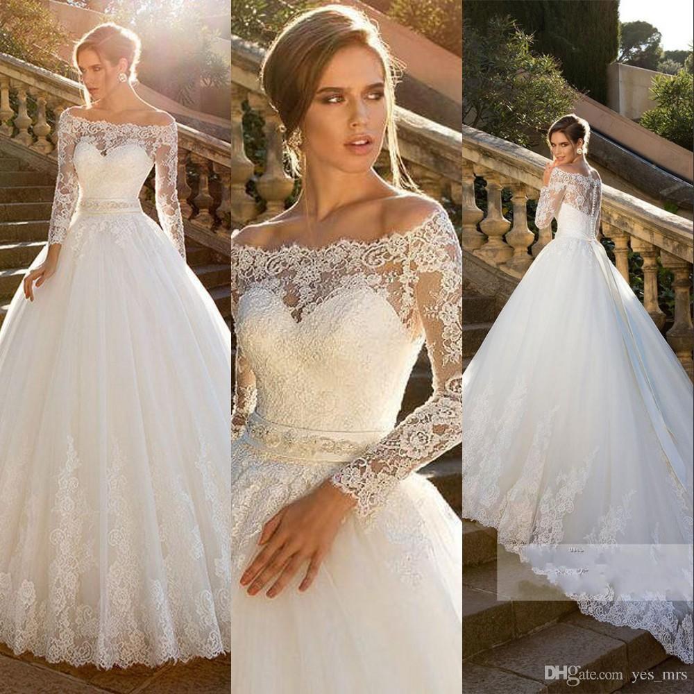 Novo vestido de bola vintage vestidos de casamento fora do ombro mangas compridas ilusão laço apliques faixas plus tamanho tribunal trem vestidos de noiva formais