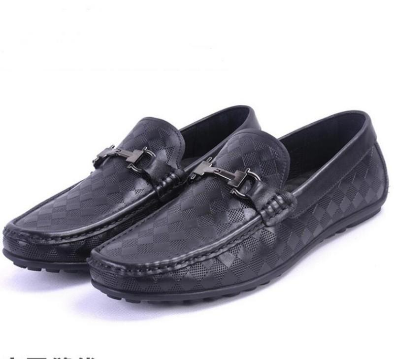 top All leather men's business casual shoes, head layer cowhide soft sole doudou shoes,Breathable leather embossed single shoes W54