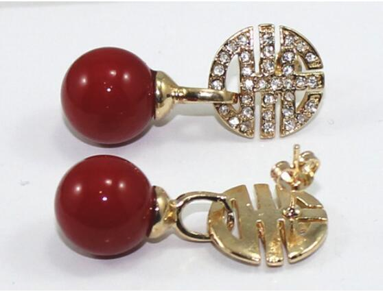 Orecchini di perle di Shell da 10 mm progettati da Jewelryr Jade Earing Spedizione gratuita