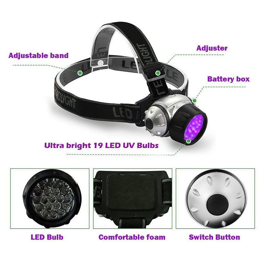 UV P/úrpura LED Linterna Frontal Linterna Ultravioleta 395nm UV Faros A Prueba De Lluvia 3AAA Bater/ía Camping Luz De Antorcha Cabeza De Caza L/ámpara De Luz