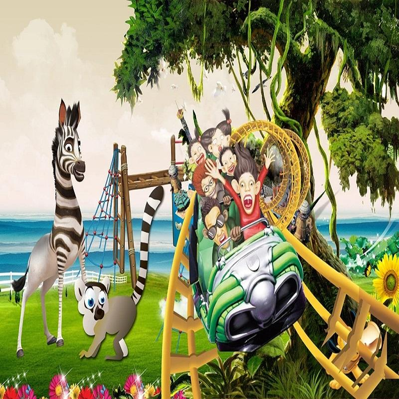 Custom large mural 3D wallpaper Nordic cartoon creative roller coaster zebra bedroom mural TV back wall decor deep 5D embossed