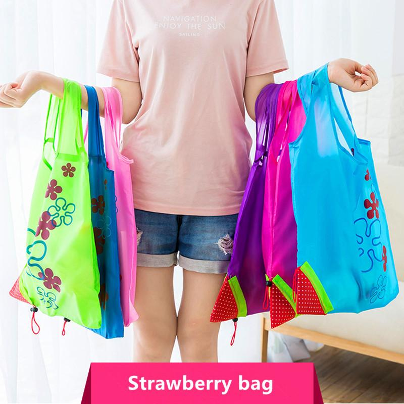Strawberry Shopping Bags Eco Storage Handbag Strawberry Foldable Shopping Bags Folding Grocery Nylon Bag Large Capacity Home Tote Pouch