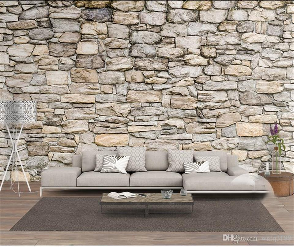 Tamaño personalizado foto 3d papel tapiz sala de estar cama habitación mural piedra natural cultura piedra imagen sofá TV telón de fondo papel tapiz no tejido etiqueta