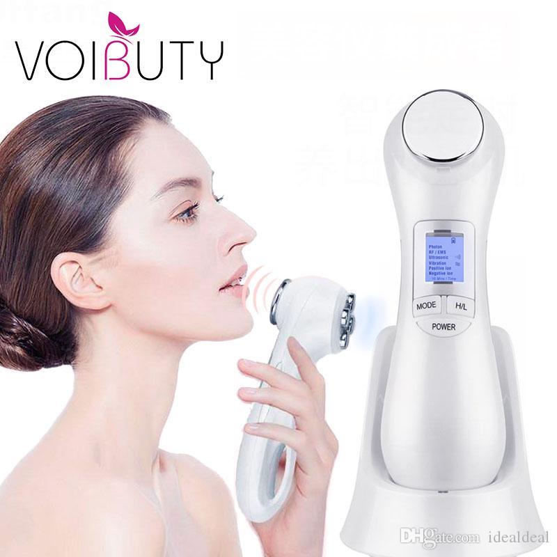 5 en 1 LED RF Photon Therapy lifting facial de rajeunissement de la peau Dispositif Vibration Machine EMS Ion microcourants mésothérapie Masseur