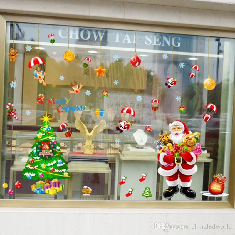New Year Santa Murals Reindeer Shop Window Stickers Decorated Christmas