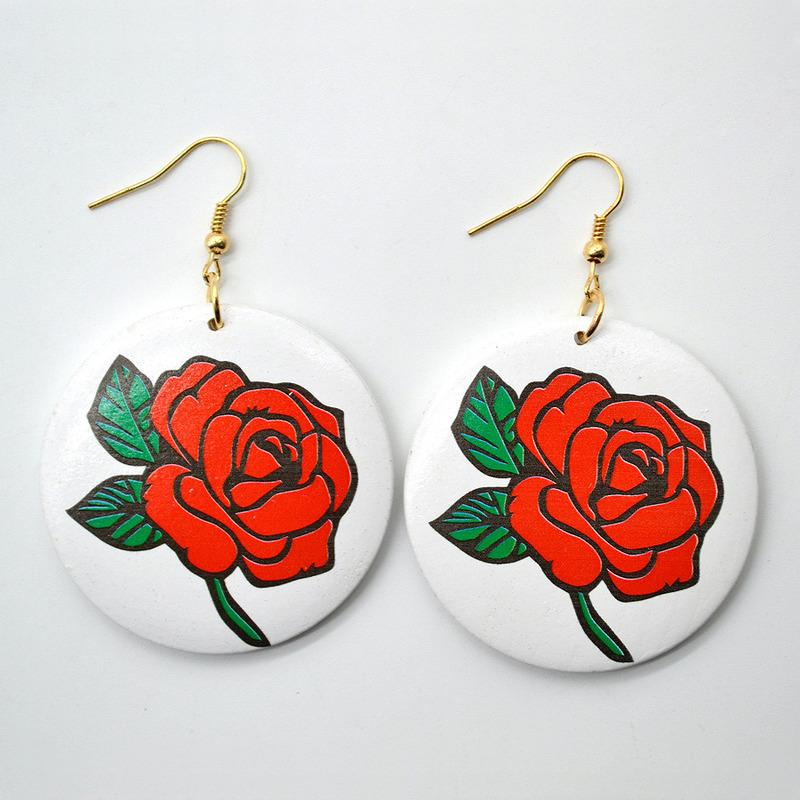 Cuelga los pendientes pendientes redondos de madera nueva de la manera étnica patrón de estilo 3D Printed Rose para las mujeres de la venta caliente simple chica joyería envío de la gota