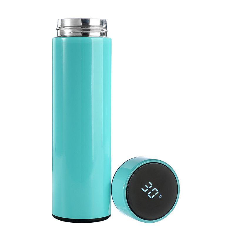 Moda intelligente acciaio inox 304 boccetta di vuoto creativo Display temperatura diritta della bottiglia di acqua BPA 500ml oro libero