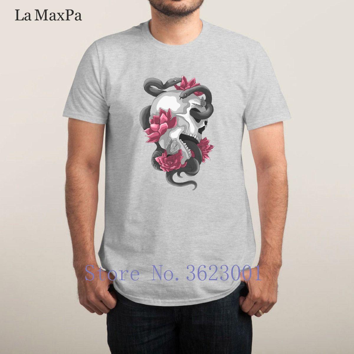 Crânio Monochrome Versão Família 2018 Casual dos homens de manga curta camiseta Custom Fit T Natural Camisas da Serpente