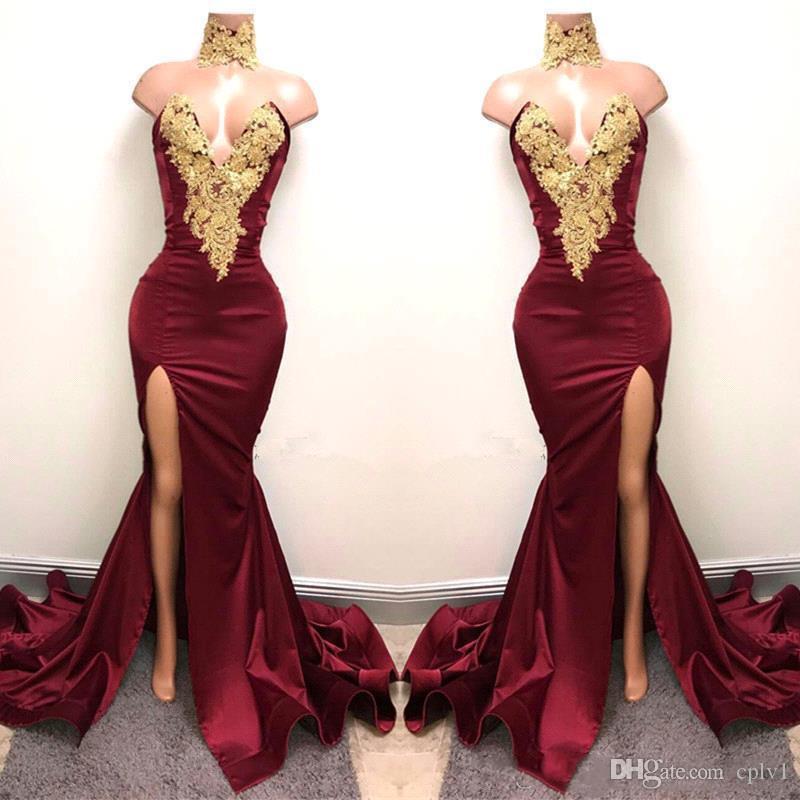 Nuevos vestidos de fiesta de Borgoña sexy con encaje de oro apliquen sirena frontal división para 2k19 fiesta de fiesta de fiesta de fiesta