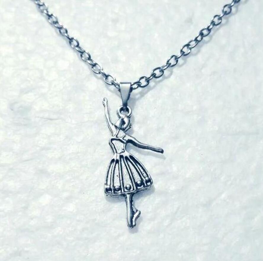 Vintage Silver Ballerina Colliers Danseuse personnalité collier pendentif punk gothique pour les femmes Danseur de ballet Bijoux cadeau 543
