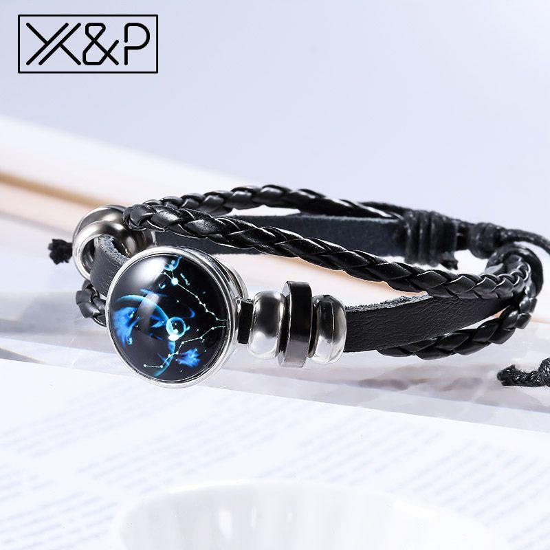 XP Moda Do Vintage 12 Constelação De Couro Estrelado Charme Pulseiras para As Mulheres Homens Partido Corda Preta Pulseira Cadeia Presente Da Jóia