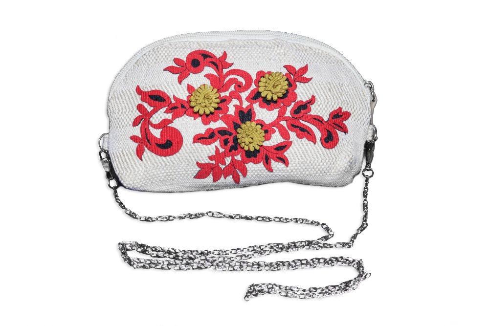 Hand Made New women Linen handbags female Hand made flowers 2 in 1 Purse Chain shoulder bag zipper bag for female