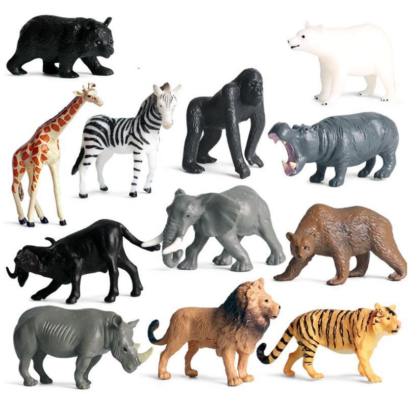 12pcs Simulación Mini Tigre leones Figuras de acción realista Educación Niños Niños Salvaje Modelo animal de juguete de regalo juguetes de la historieta