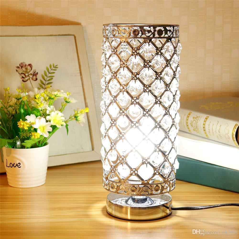 거실 침실 장식 식당 주방에 크리스탈 테이블 램프 실버 침대 옆 나이트 테이블 램프 데스크 램프 은색 골드 그늘