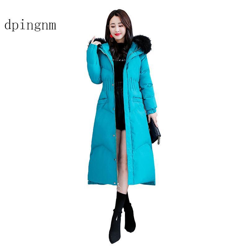 Dpingnm 2018 الجديدة عالية الجودة المرأة الشتاء سترة بسيطة صفعة تصميم يندبروف دافئ أنثى معاطف أزياء العلامة التجارية سترة GWD12665