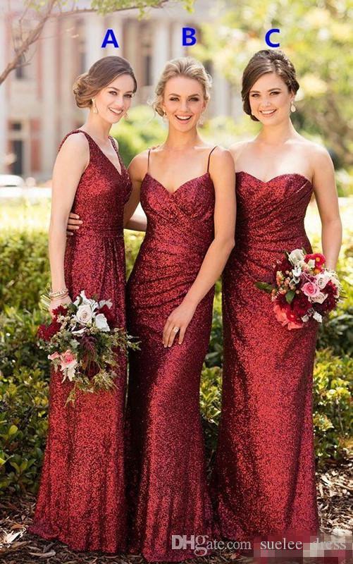 Bordo Sequins Karışık Stilleri Gelinlik Modelleri Dantelli Spagetti Sapanlar Straplez V Boyun Bahçesi Hizmetçi Onur Elbise Örgün Akşam Giyim
