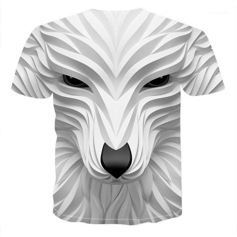 Hommes T-Shirt Designer Fashion animal Casual manches courtes T-shirts Été 2020 Vêtements Homme Nouveau Head Loup 3D cool