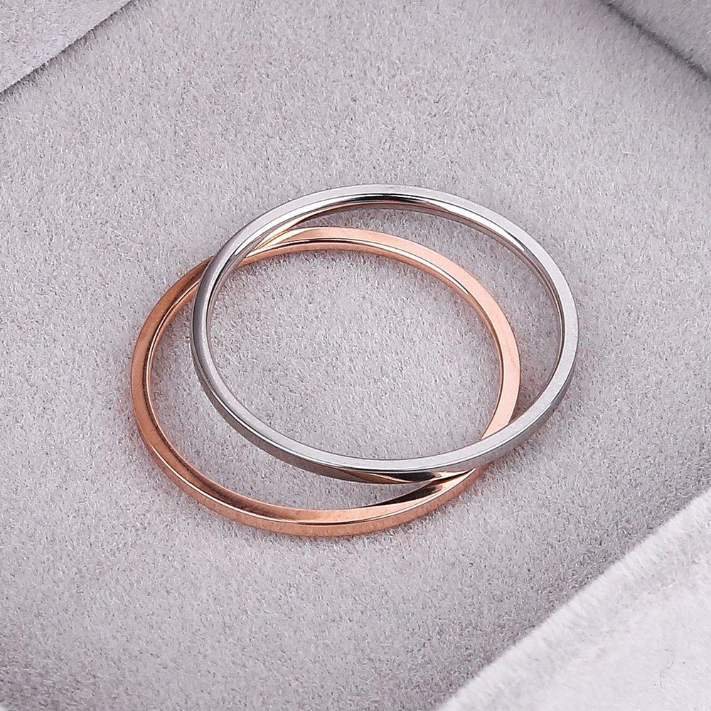 Knock (1,2 mm) Promotion Titan Stahl Rose Gold Farbe Anti-Allergie Glatter Paar Ehering Frau Mann