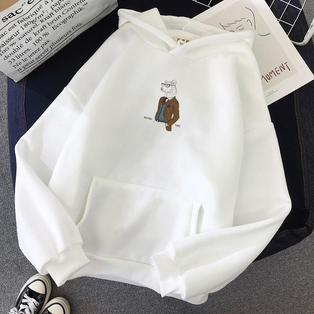커플 후드 티 가을 겨울 양털 하라주쿠 베어 인쇄 풀오버 스웨트 여성 후드 티 캐주얼 의류 땀 셔츠 Survetement