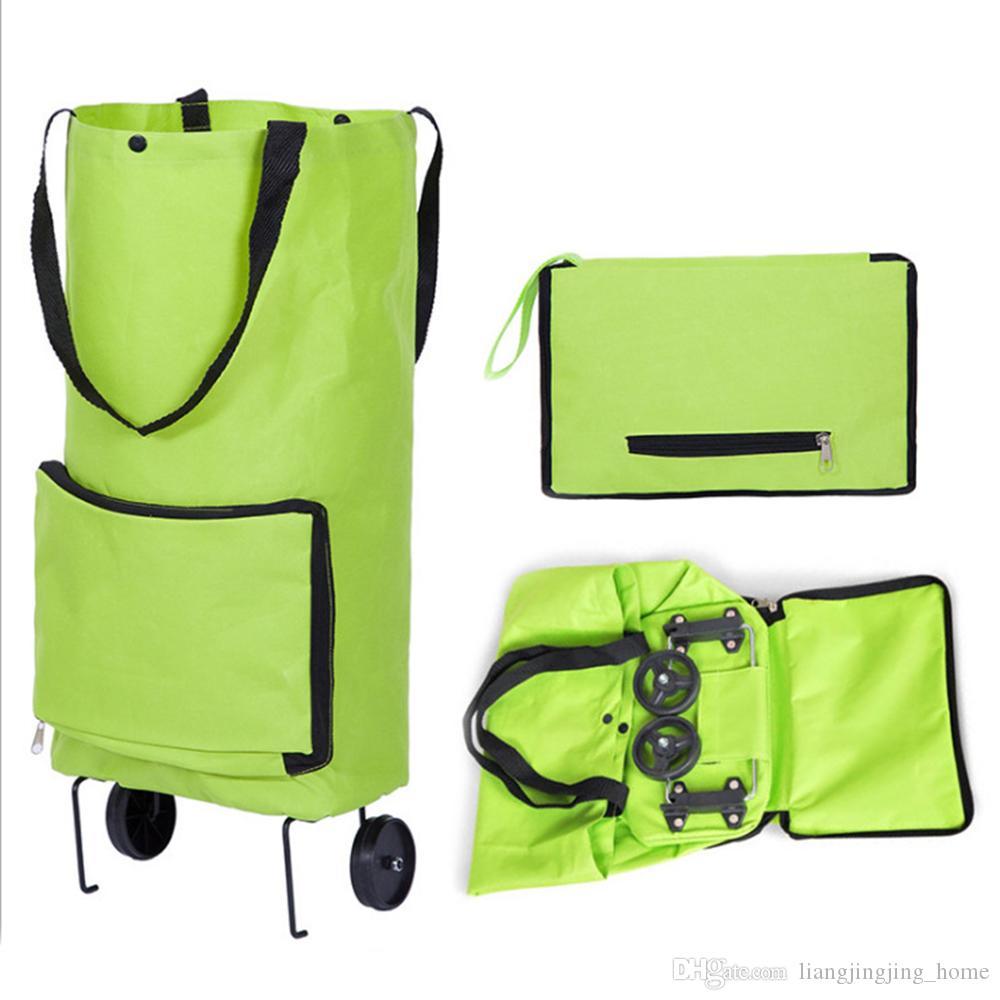 경량 바퀴 접는 쇼핑 가방 트래핑 수하물 장바구니 20L 접혀 Tug 저장 가방 트롤리 케이스 핸드백 패키지 QQA412