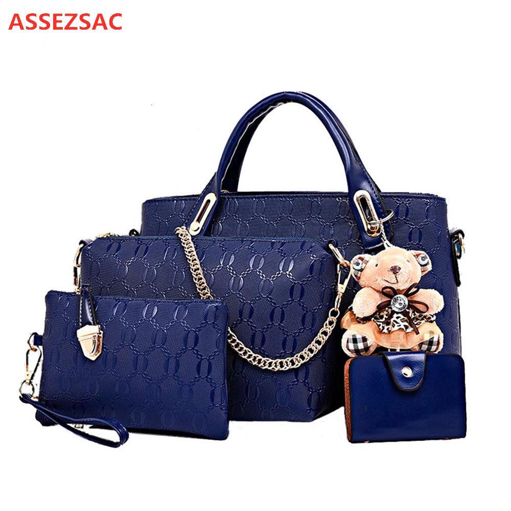 4pcs ASSEZSAC / bolsos de las mujeres fijaron a las mujeres señoras de bolso de mano bolsas, carteras, bolsos de diseño para las mujeres 2019 del bolso de la PU del bolso compuesto V191209