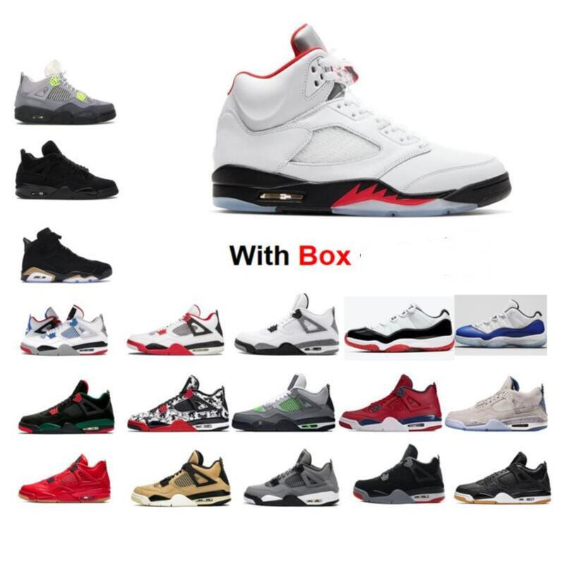 13 Flint 2020 5 5S Fire Red Silver Tongue 11 11S Space Jam Low White Bred 4s Black Cat Bred Basketball shoes sneaker