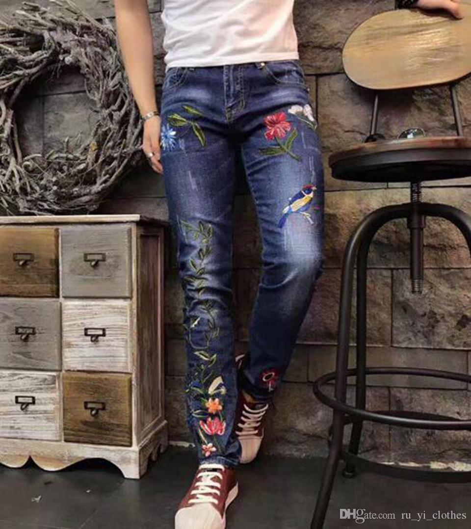 Men's Europe and the United States fashion han version of the new trend slim-fit style embroidery patterns straight leg jean trousers /28-36