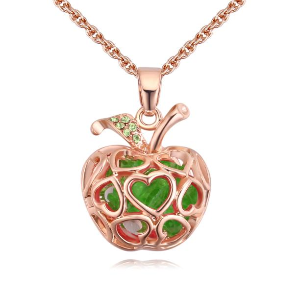 Hot High-grade Austrian Crystal Wedding Bride Christmas Safe Fruit Apple Pendants Charm Chokers Necklaces Fine Jewelry Accessories For Women