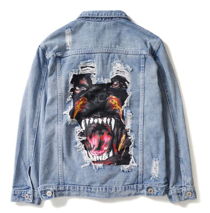 Kot Ceket Marka Erkekler Lüks Ince Delik Yırtık Kot Ceket Zarif Vintage Bombacı Köpek Baskı Ceket Temel Coats