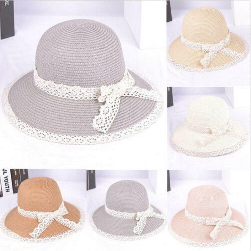 2020 donne di Boho di moda paglia HatBow merletto di Cappello di paglia di Sun larga del bordo della protezione della spiaggia paglia copertura di protezione Tesa larga spiaggia del cappello della protezione del terreno