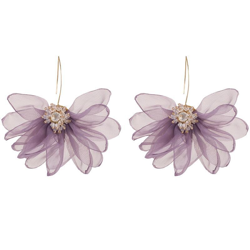 2019 orecchini gancio fiore del merletto di nuovo disegno per Ragazze strass Inserire lusso ciondola gli orecchini romantico matrimonio Supporto di gioielli lotto misto
