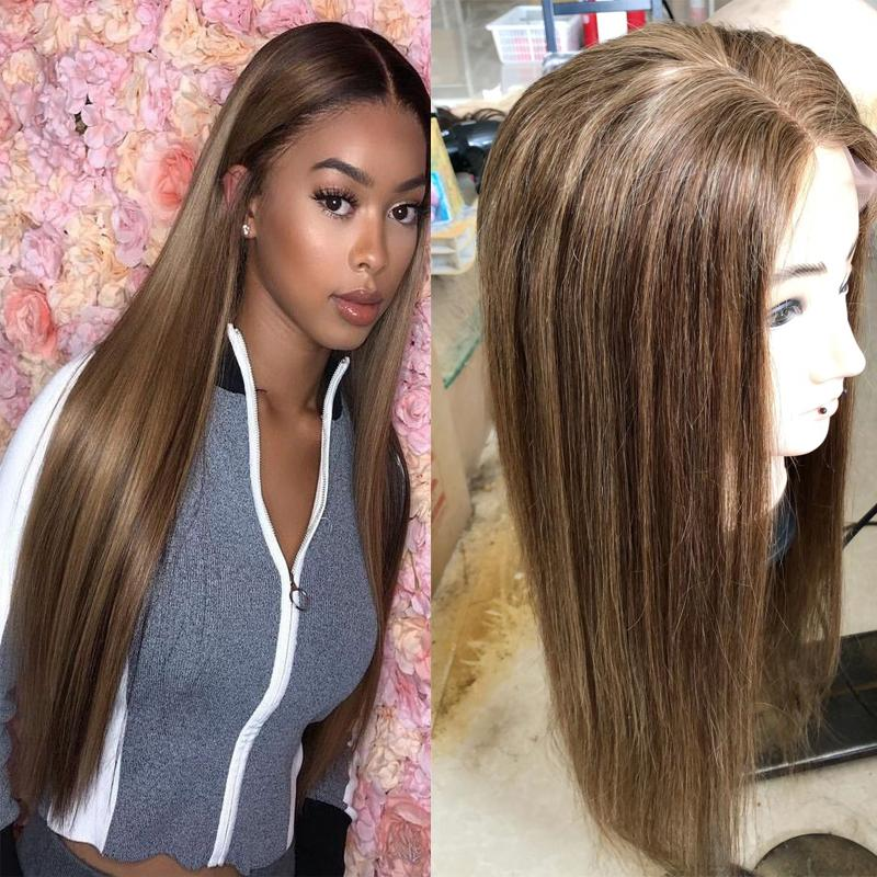 Highlight Color Lace Front Human Hair Wigs With Baby Hair #6 #27 Piano Straight Indian Virgin Hair Full Lace Wigs For Black Women