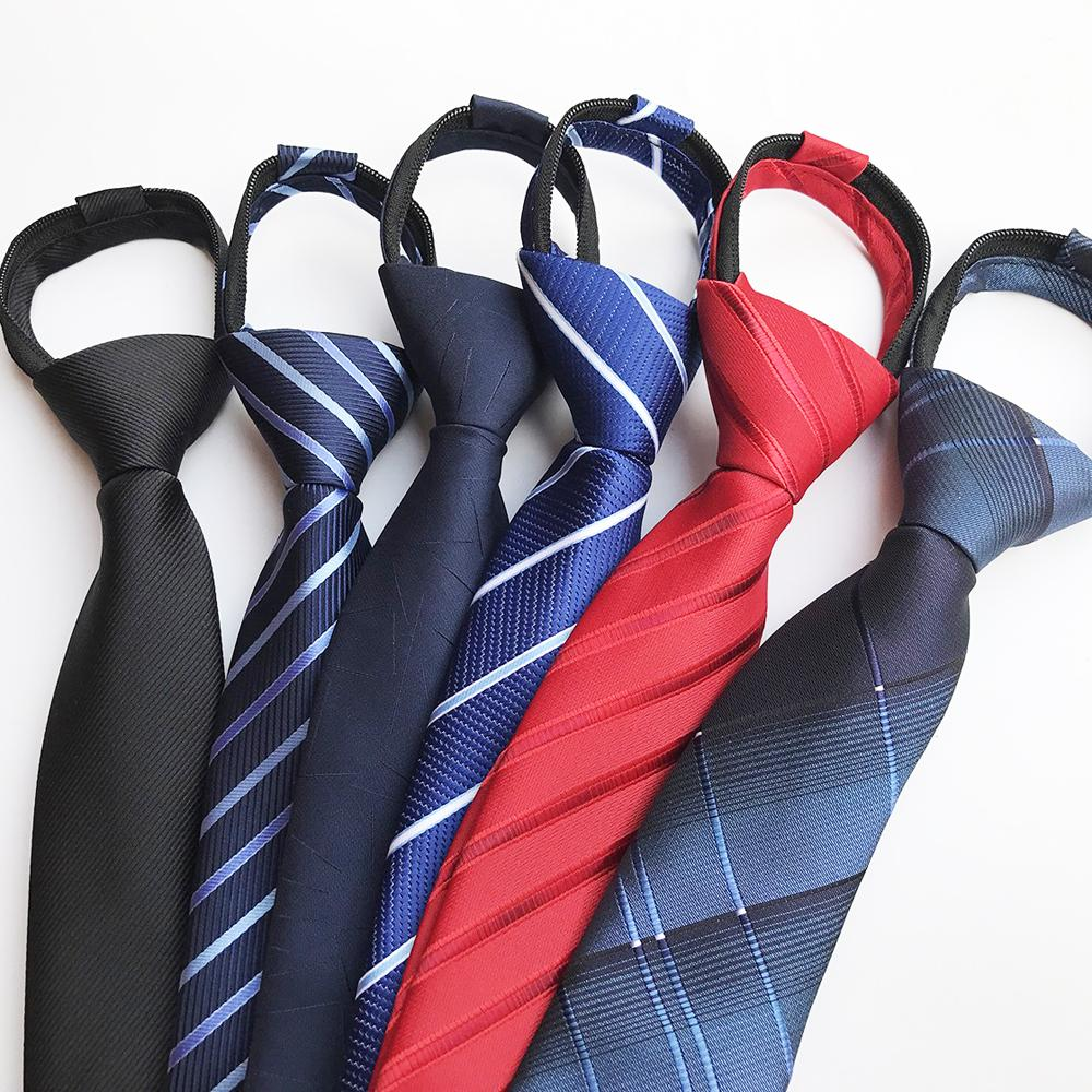 8 cm Erkekler Genç Kolay Fermuar Elastik Band Ready ile Tie Jakarlı Dokuma Yüksek Kaliteli Kravat koyun